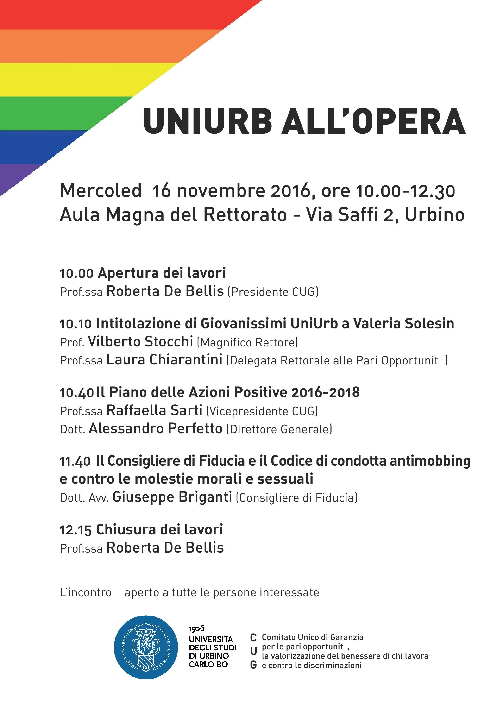 Il Codice di condotta e il Consigliere di Fiducia dell'Università di Urbino: presentazione 16/11/2016