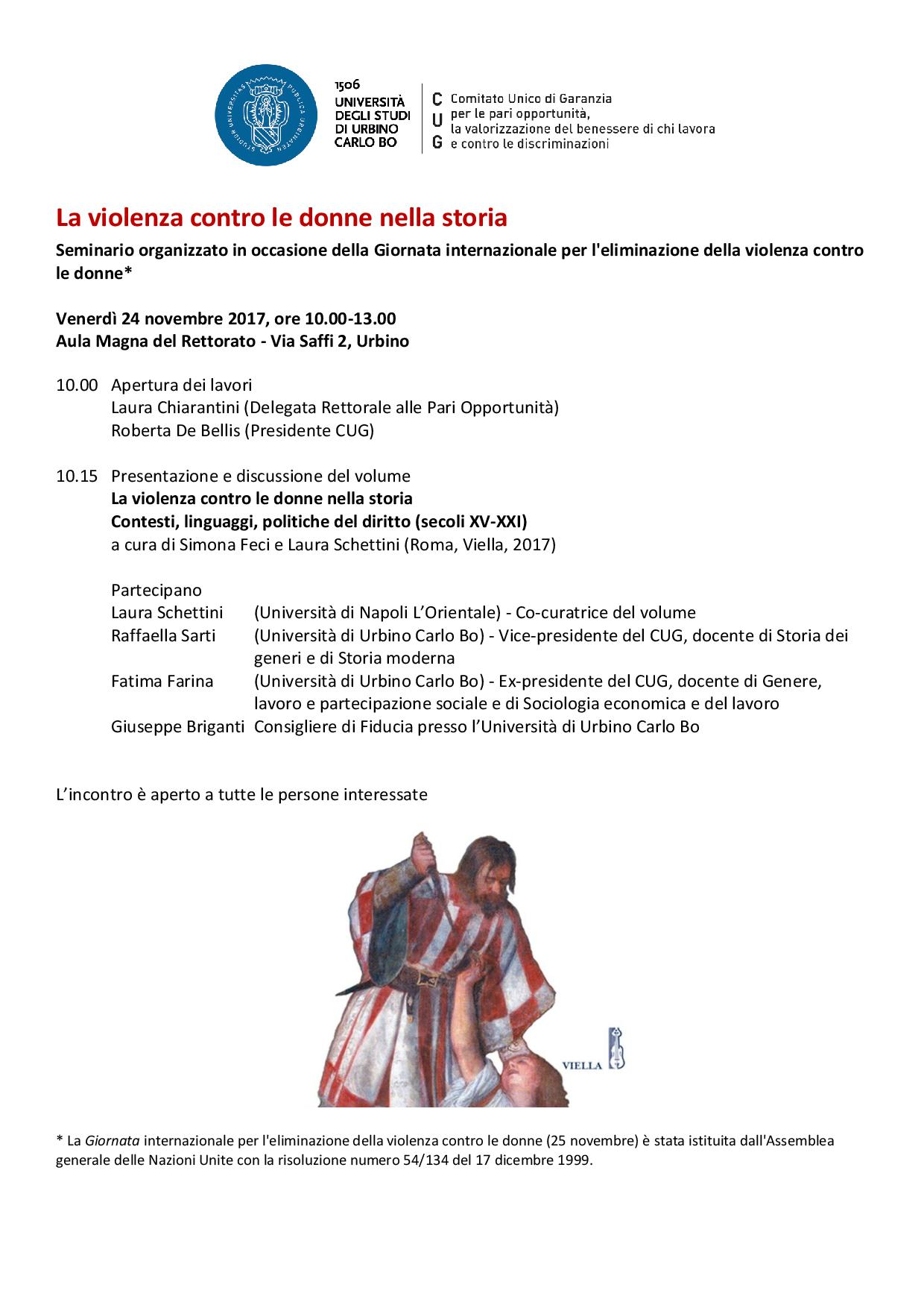 Violenza contro le donne nella storia: se ne parla in Urbino il 24 novembre 2017