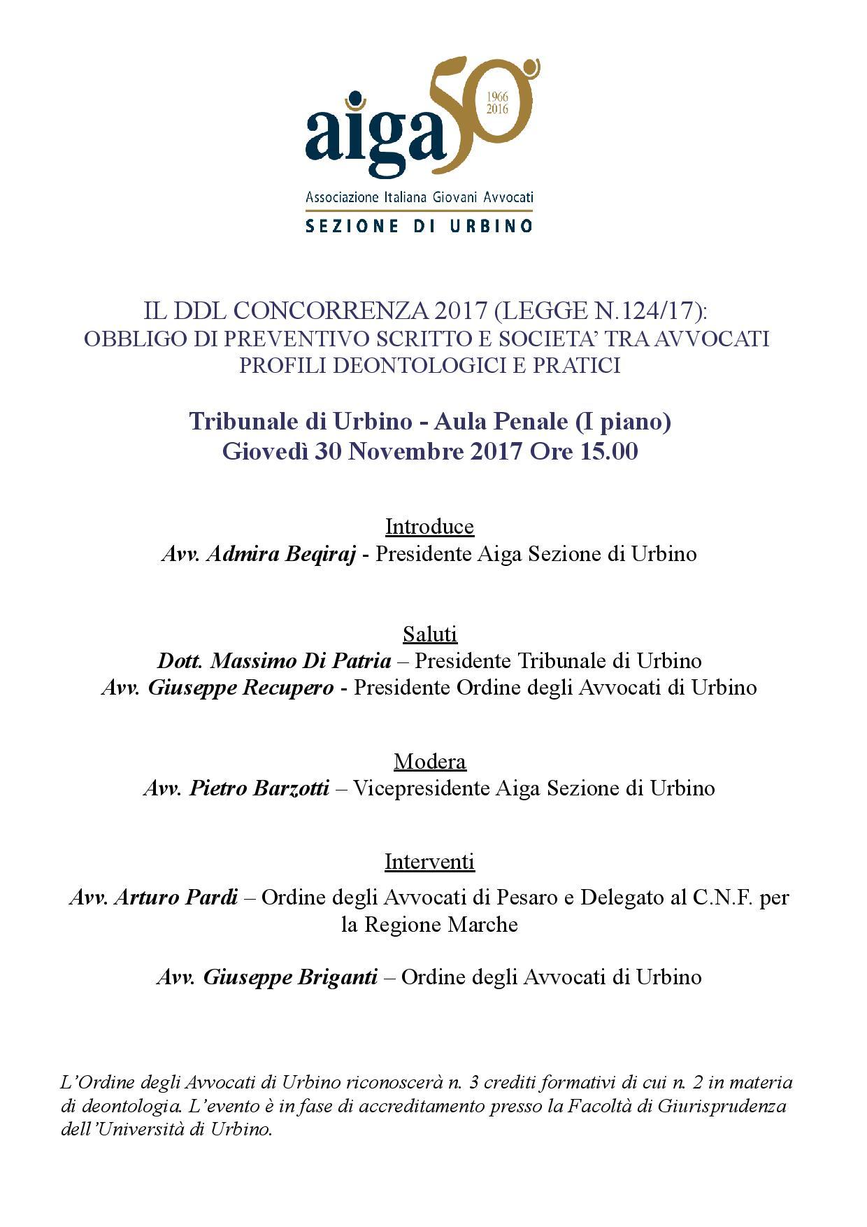 Avvocati, obbligo di preventivo e società tra professionisti: si discute dei profili deontologici e pratici il 30/11 in Urbino