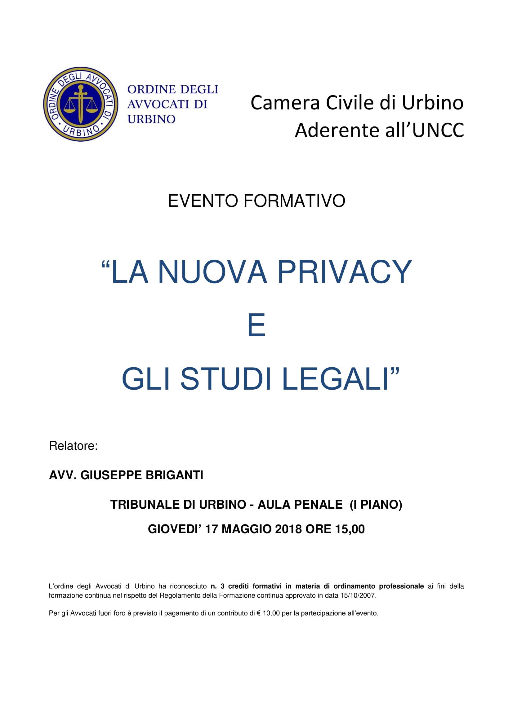 Privacy, studi legali e GDPR: cosa cambierà? Se ne parla a Urbino il 17 maggio 2018